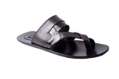 Guardian Men's Black Leather Slippers-11