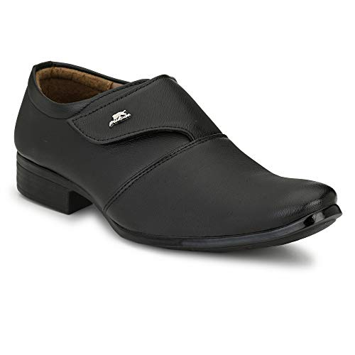 Styleure Premium Synthetic Leather Black Formal Monk Strap Shoes for Men