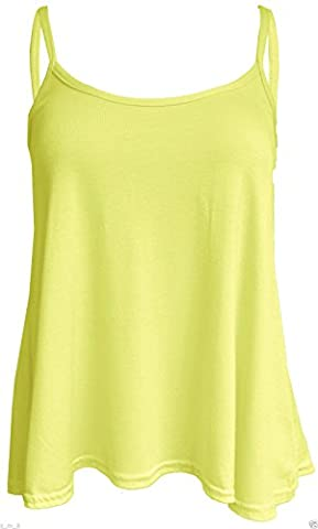 Damen New Cami Cami Uni Strappy Swing Weste Top Flared ärmellos, - Dusty Pale Yellow - Größe: 25 EU