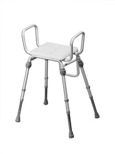 Compact Easy Hocker (geneigte Sitzfläche, modular, Polyurethan-Finish, mit Armlehnen und gepolstertem PVC-Sitz)