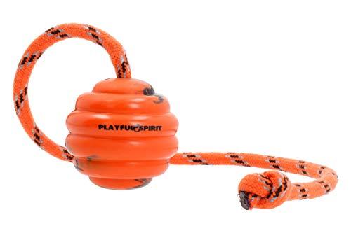 PlayfulSpirit Robuster natürlicher Gummiball am Seil: Hundeball - Perfektes Hundeerziehungs-, Übungs und Belohnungsspielzeug - Mittelgroßes Hundespielzeug für Apportieren, Fangen, Werfen, Tauziehen