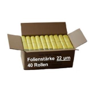 Gelber Sack - Ein Karton mit 40 Rollen (520 Gelbe Säcke) - 22 µm Folienstärke
