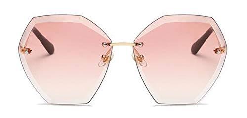 WSKPE Sonnenbrille Randlose Hexagon Sonnenbrille Frauen Gradient Linse Uv-Schutz 400 Sonnenbrille Klare Linse (Rosa Farbverlauf Objektiv)