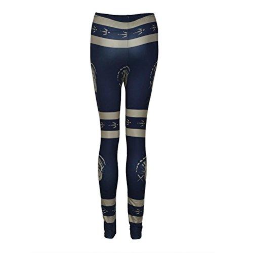 Ouneed® Noel Deguisement Femme Imprime Legging en Polyester Bleu