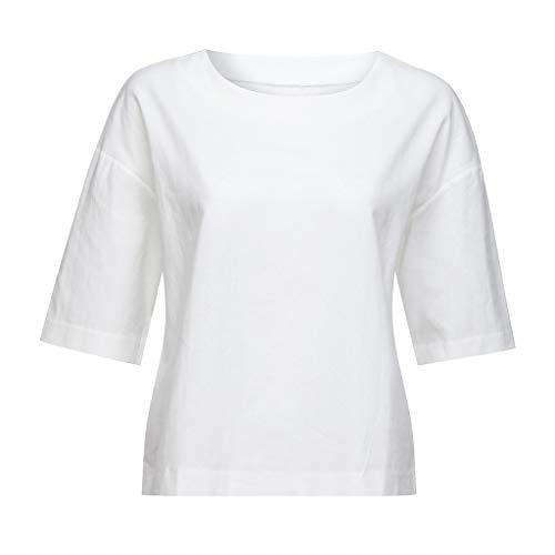 Floweworld Damen einfarbig Leinen Tops Freizeit lässig Sommer Damen Bluse runder Kragen Fünf-Punkt-Ärmel