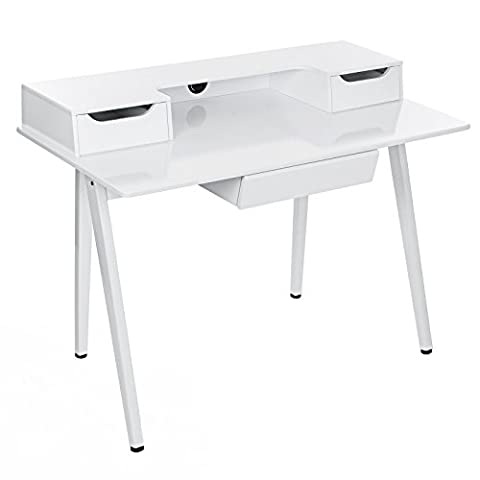 Songmics Writing Desk Computer Workstations Board and Stable Steel Structure with 3 Drawers 120 x 59 x 87 cm (W x D x H) MDF Bright White LCD561W