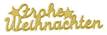 Rayher 3361206 Klebeschrift: Frohe Weihnachten, Bogen 10x24,5 cm, gold (Weihnachten Rund Welt Dekorationen Um Die)