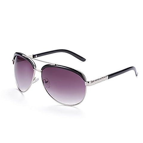 Hmilydyk Premium Lunettes de soleil aviateur classique en métal Sniper Full Miroir Couleur UV400Homme Lunettes avec étui, Silver Frame Purple Lens
