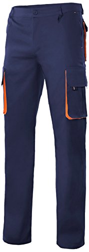 Velilla 103004/C1-16/T40 Pantalón multibolsillos, Azul marino y naranja, 40