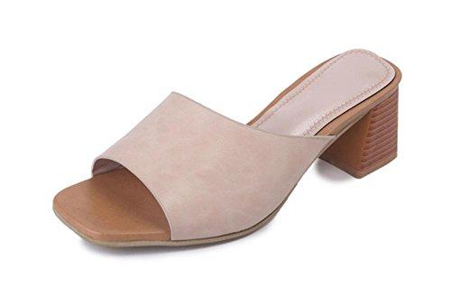 Sommer hochhackige Sandalen Fischkopf rau mit offenen Schuhen Sandalen und Pantoffeln Wort meters white