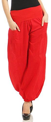 Malito Damen Stoffhose leicht | Pumphose zum Tanzen | Freizeithose zum Chillen | Haremshose - Sommerhose 17633 (rot)