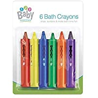123 BABY Play-tec Bath Crayons for Draw, Develop Creativity, Imagination, Scribble and Make Bath Time Fun, Easy Washable Wipe Clean-6 Pack