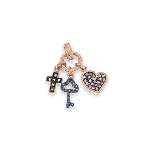 Anniversary collection pendente ciondolo chiavette croci con cuore zirconi rodio rosa e rodio nero donna regalo