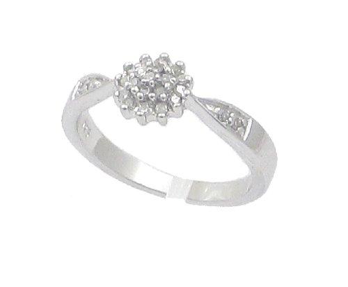 Diamant-Ring-Kollektion: Schöner Ring mit Diamant 0,15 ct Cluster Schultern mit Diamanten in Silber, Ringgröße 53 (16.9)