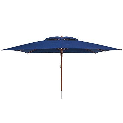 anndora® Sonnenschirm Marktschirm 3 x 4 m eckig - wasserabweisend UV-Schutz Navy Blau