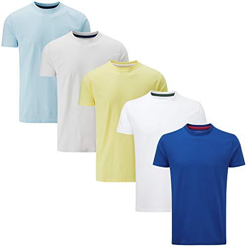 Charles Wilson 5er Packung Einfarbige T-Shirts mit Rundhalsausschnitt (Small, Essentials Light)