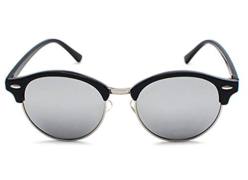 WSKPE Sonnenbrille,Halbe Rahmen Cat Eye Männer Sonnenbrille Polarisierte Spiegel Sonnenbrille Frauen Männer Schattierungen Brillen Uv400 Schwarz Silber Silber Objektiv