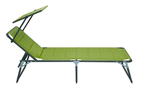 Meerweh Aluminium Gartenliege XXL mit Dach Dreibeinliege gepolstert mit Quick Dry Foam Sonnenliege, Grün, 200 x 70 x 37,5 cm