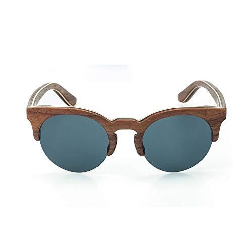 LKVNHP Runde Holz Sonnenbrille Polarisierte Linse Männer Womens Bambus Sonnenbrille HalbrandloseC1 Schwarze Linse