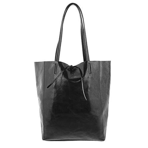 IO.IO.MIO Reflex Leder Tote Bag Frauen Handtaschen Henkeltasche Shopper Damen Schultertasche groß schwarz metallic -