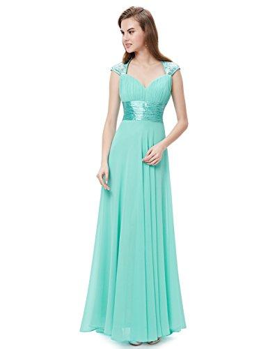 Ever Pretty Damen V-Ausschnitt Lange Chiffon Abendkleider Festkleider 09672 Aqua