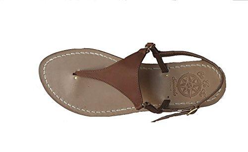 Sandali artigianali donna moda capri sorrento positano 100% made in italy personalizzabile modello dorotea (38 tacco basso, cuoio)