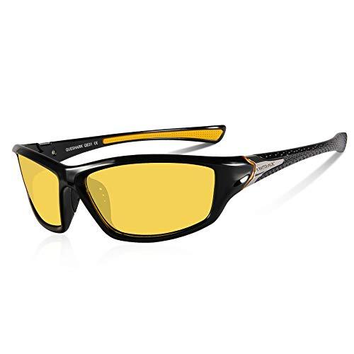 Queshark Polarisierte Sonnenbrille Ultraleichter TR90 Rahmen Sport Sonnenbrille für Skifahren Golf Laufen Radfahren (Schwarz Gelb)