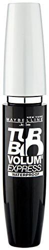 Maybelline Volum' Express Turbo Boost Mascara in Black Waterproof, wasserfeste Wimperntusche, mehr Volumen, Länge und Schwung in Sekundenschnelle, mit patentierter Turbo-Boost-Wimpernbürste, 10 ml