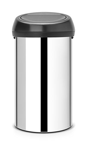 Brabantia Touch Bin, 60 L - Brilliant Steel with Matt Black Lid
