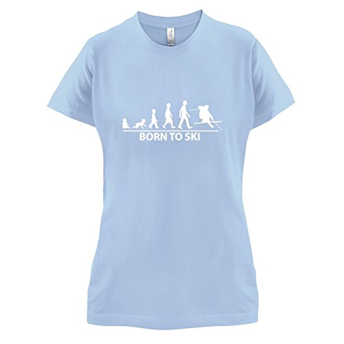 Born To Ski - Damen T-Shirt - 14 Farben Himmelblau
