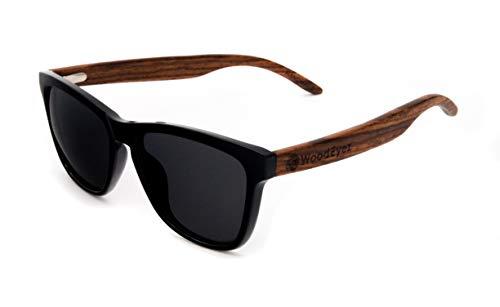 WoodEyez - DIE Holz-Sonnenbrille - unisex (besonders für schmalere Gesichter geeignet) - UV 400 Cat 3 - Polfilter - Holzbügel - hochwertige Federscharniere - Echtholz (Schwarz (helles Holz))