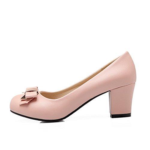 AgooLar Femme Couleur Unie Pu Cuir à Talon Correct Chaussures Légeres Rose