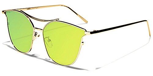 Giselle Sonnenbrillen Mode Modisch Fashion Strand Stadt Cat Eye Flat Lens/Sydney Gelb Grün Irisierend Spiegel