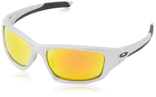 Oakley Herren Valve Rechteckig Sonnenbrille, Silver/Fire Iridium Polarized (S3)