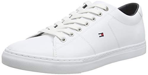 Tommy Hilfiger Herren Essential Leather Sneaker, Weiß (White 100), 45 EU