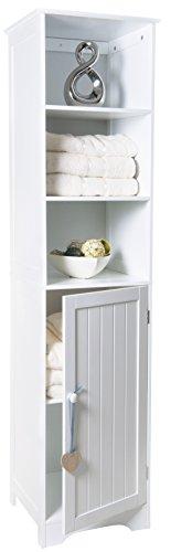Crown Crest Tall boy Storage Cabinet White Wooden Cupboard Bathroom Unit Shelves Door