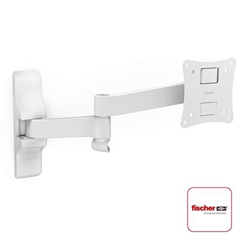Hama TV-Wandhalterung und Monitorhalterung Ultraslim (neigbar, schwenkbar, vollbeweglich für Fernseher, Monitor von 10 - 26 Zoll (25 cm bis 66 cm Diagonale), inkl Fischer Dübel, VESA bis 100x100) weiß (Flachbild-monitor-halterung)