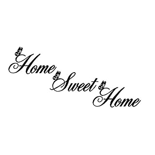 Home Sweet Home Quote Wall Decal Sticker, Creatiees Removable DIY Vinyl Wall Decor Art Mural for Living Room Bedroom Family Decor - Elegant Design & Home Warming Gift