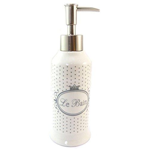 Les Trésors De Lily P5699 - Distributeur de savon céramique 'Le Bain' beige (rétro) - 20x6.5 cm