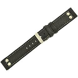 Oozoo Armband - Ersatzarmband für Oozoo Uhren etc. - 20 mm - Farbe : Schwarz/Niete