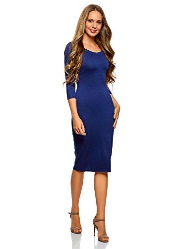 Oodji Ultra Mujer Vestido Ajustado Escote Barco, Azul