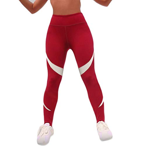 WOZOW Damen Leggings Solid Patchwork Gestreift Streifen Muster Yoga Kurze Hosen Stretch Skinny Slim Sporthosen High Waist Laufhose Lang Pants (M,Rot)
