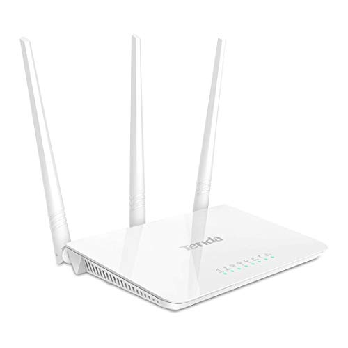 Tenda F3 N300 WLAN Router für Anschluss an Kabel-/DSL- oder Glasfaser-Modem (300Mbit/s über WLAN , 3x LAN-Ports) Drei antennen für stabile Netzabdeckung auf bis zu 200m² (Wlan 3 Antenne)