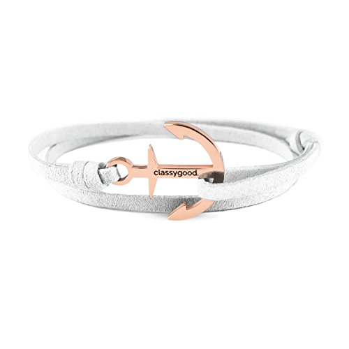 classygood. Anker Armband Classy Bracelet Edelstahl Silber & roségold, Leder-Band weiß für Damen/Herren (roségold)