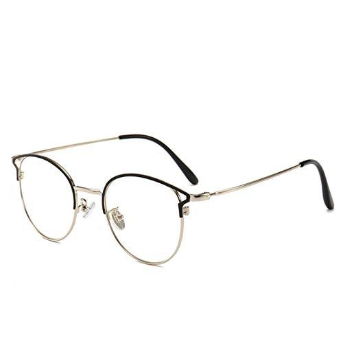Zebuakuade Anti-Blau-Metall-Brille Rahmen weibliche Cat Eye Anti-Strahlung Brille Rahmen Nicht Brillen Männer (Color : Silver)