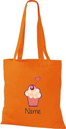 Stoffbeutel mit süßen Motiven inkl. Ihrem Wunschnamen Muffin Orange
