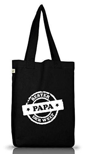 Shirtstreet24, Bester Papa der Welt Stempel, Vatertag Vater Jutebeutel Stoff Tasche Earth Positive Black