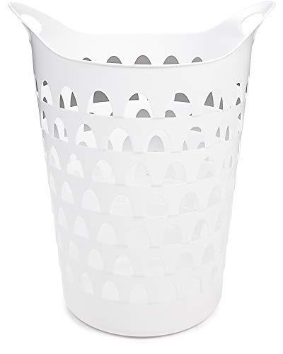 Ondis24 Wäschekorb weiß, Wäschesammler Flexi, Aufbewahrungskorb Bad, Belüftungslöcher, Flexibler Kunststoff, Kleider -