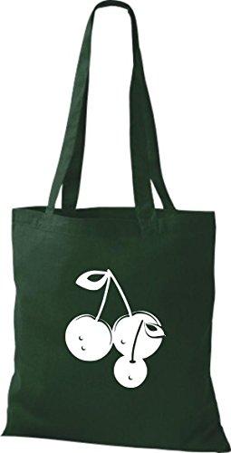 ShirtInStyle Stoffbeutel Baumwolltasche Dein Lieblings Obst und Gemüse Kirsche Farbe Pink gruen