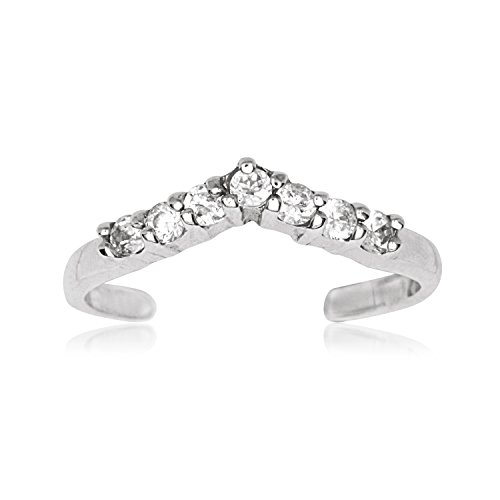 14ct Weißgold Zirkonia verstellbar V Shape Body Jewelry JewelryWeb Zehenring, (10k Birthstone Ring)